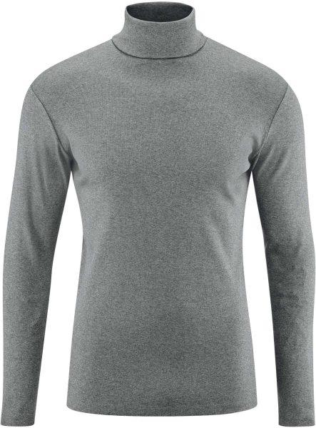 Rollkragen-Langarmshirt aus Bio-Baumwolle - grey melange