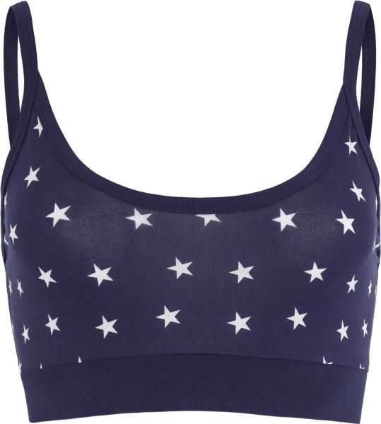 Bustier aus Bio-Baumwolle mit Sternenmuster - dunkelblau