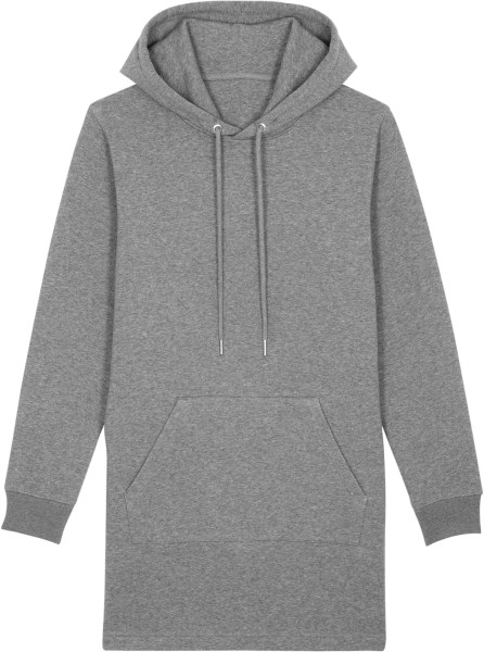 Sweatshirt-Kleid mit Kapuze aus Bio-Baumwolle - mid heather grey