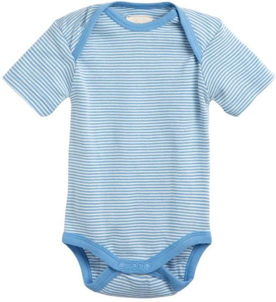 Baby Kurzarm-Body aus Bio-Baumwolle - blau-natur
