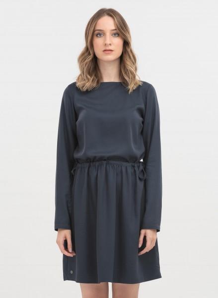 Langarm-Kleid aus Tencel - navy
