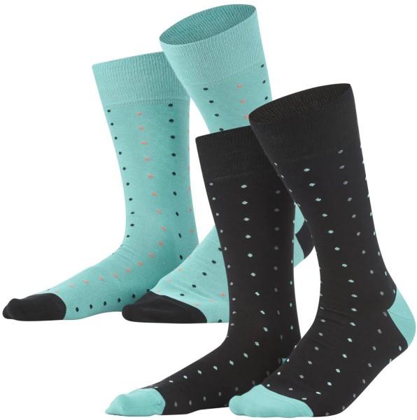 Herren Socken aus Bio-Baumwolle - 2er-Pack - black/lagoon