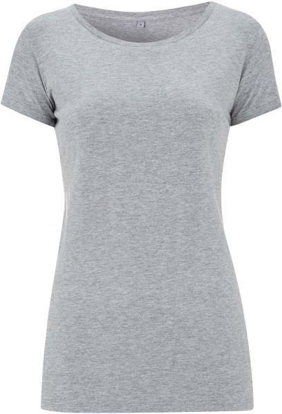 Regular Fit T-Shirt mit weitem Halsausschnitt grau meliert