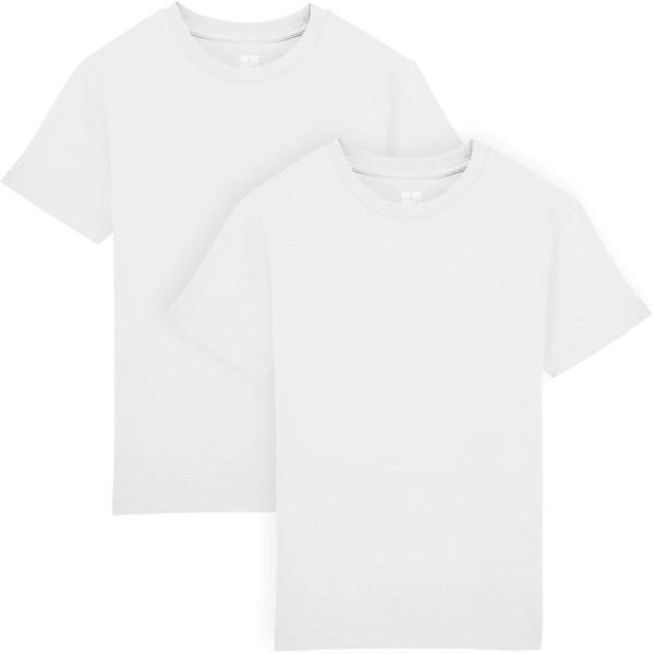 Kinder T-Shirt Bio-Baumwolle - Doppelpack - white