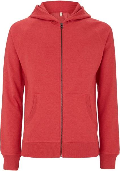 Recycled Unisex Zip-Hoodie Baumwolle und Polyester - melange red