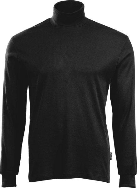Rollkragen-Langarmshirt aus 100% Baumwolle - schwarz - Bild 1