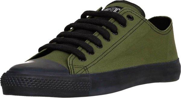 Low Cut Classic Sneaker in dunkelgrün, schwarze Kappe und Sohle