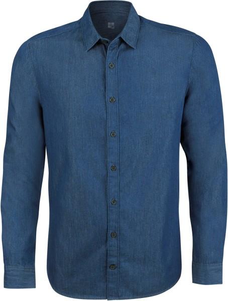 Hemd Jeans-Look Herren mid indigo denim