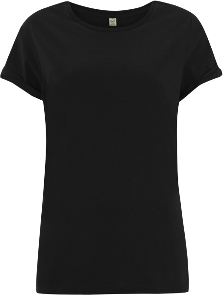 Organic Rolled-Up Sleeve T-Shirt - schwarz