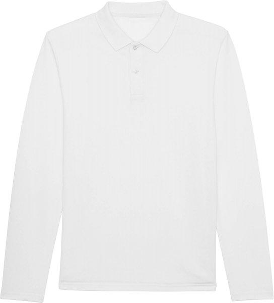 Langarm-Piqué-Poloshirt aus Bio-Baumwolle - white
