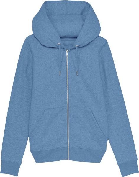 Kapuzenjacke aus Bio-Baumwolle - mid heather blue