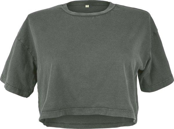 Cropped T-Shirt aus Biobaumwolle - stone grey