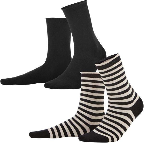 Damen-Strümpfe aus Biobaumwolle 2er-Pack - black/sand - Bild 1