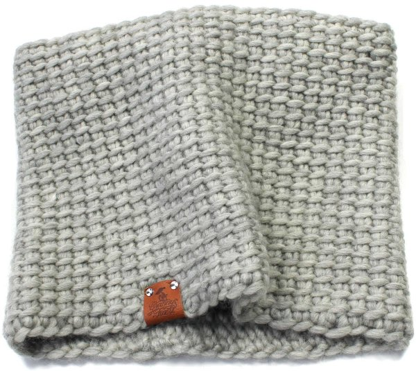 Strick-Schlauchschal aus Schurwolle - grau