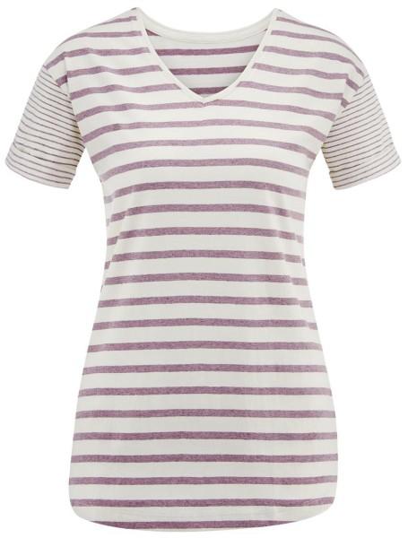 T-Shirt Damen gestreift Bio-Baumwolle lila natur Livingcrafts