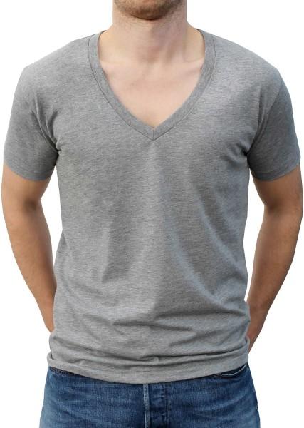 Deep V-Neck Melange Jersey T-Shirt grau - Bild 1
