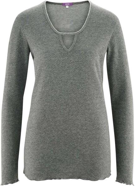 Schlaf-Shirt aus Bio-Baumwolle - stone grey melange white