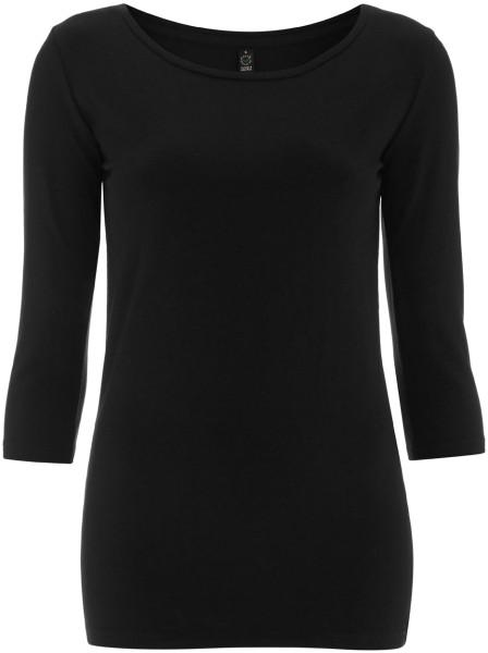 3/4 Sleeve Stretch T-Shirt aus Biobaumwolle & Elastan - schwarz