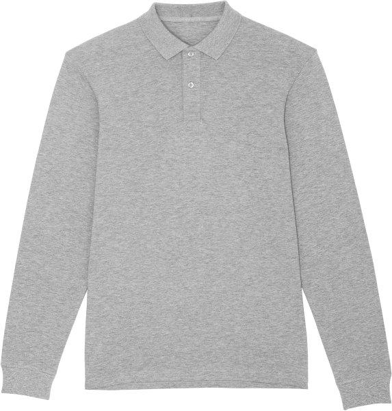 Langarm-Piqué-Poloshirt aus Bio-Baumwolle - heather grey