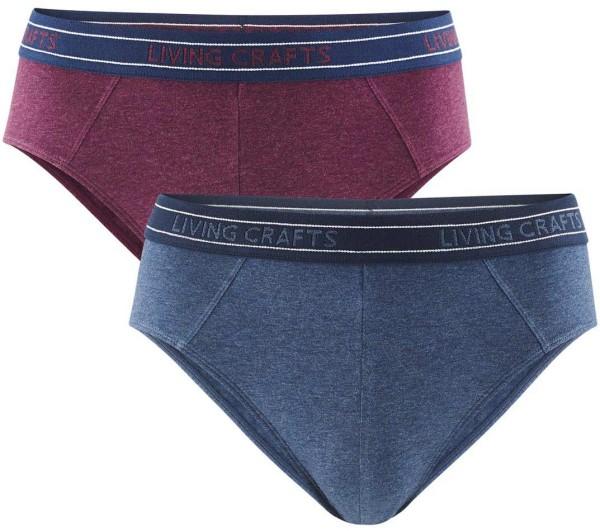 Herren-Slip- Biobaumwolle - Doppelpack ruby/indigo - Bild 1