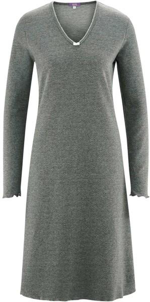 Nachthemd aus Bio-Baumwolle - stone grey melange white