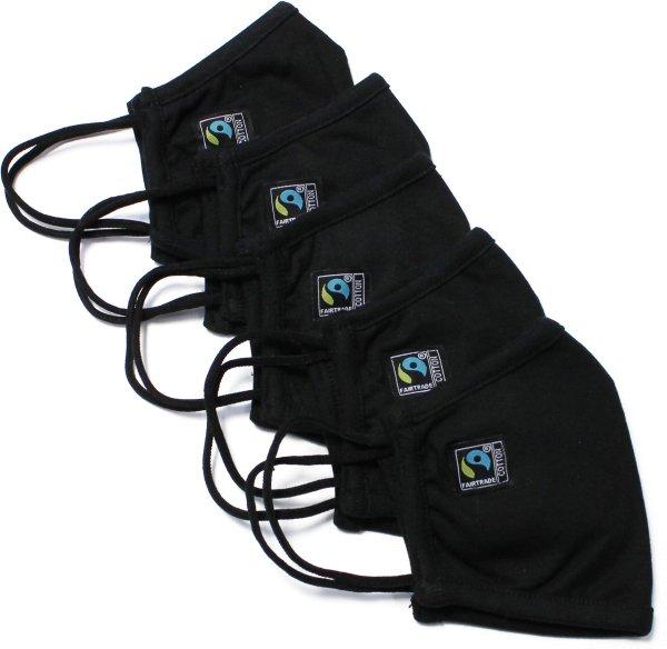 Behelfsmaske aus Fairtrade Bio-Baumwolle - 5er-Pack - black