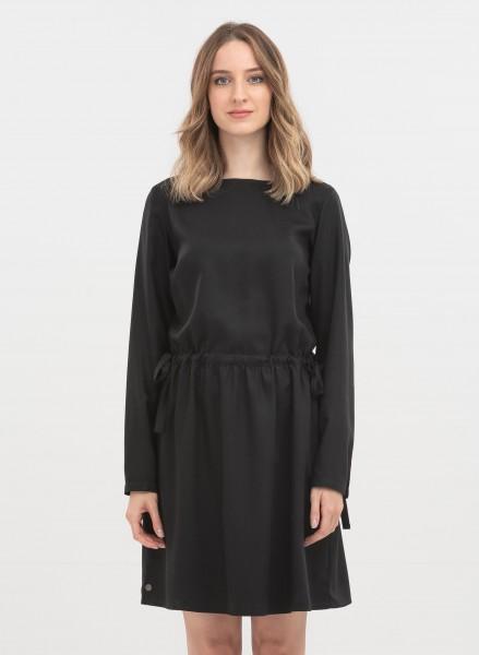 Langarm-Kleid aus Tencel - black