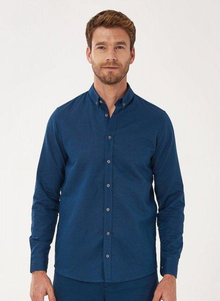 Hemd aus Leinen und Baumwolle - navy