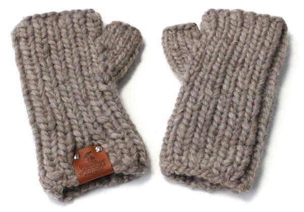 Strick-Handstulpen aus Schurwolle - taupe