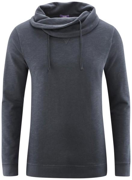 Sweatshirt Schalkragen dunkelblau Bio-Baumwolle