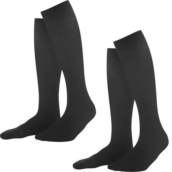 Damen Kniestrümpfe aus EVO-Garn - 2er-Pack - black