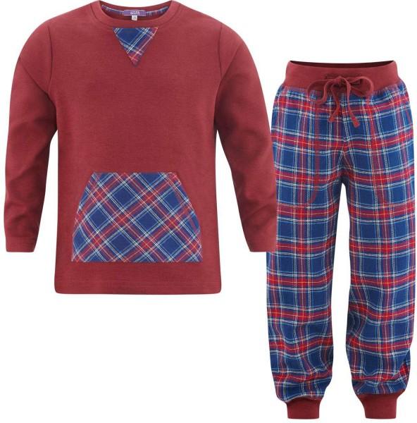 Kinder Schlafanzug aus Bio-Baumwolle - tartan blue