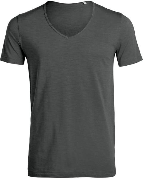 Deep V-Neck T-Shirt aus Bio-Baumwolle - anthrazit