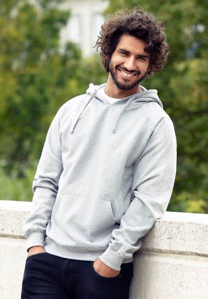 Organic Hooded Sweatshirt Fairtrade grau meliert - Bild 1