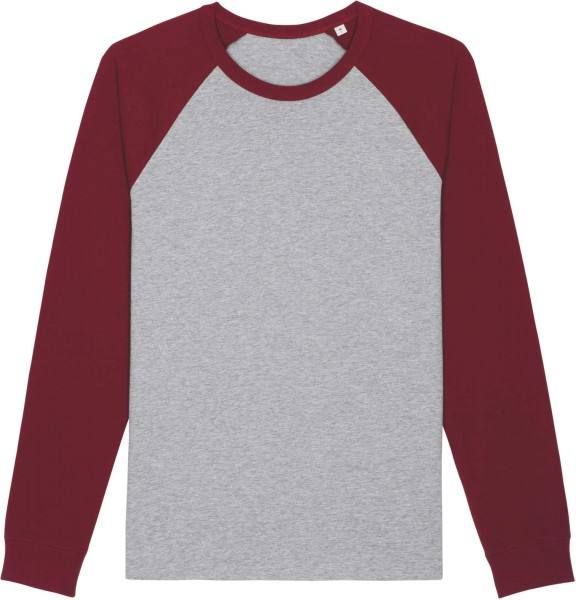Baseball-Longsleeve aus Bio-Baumwolle - heather grey/burgundy