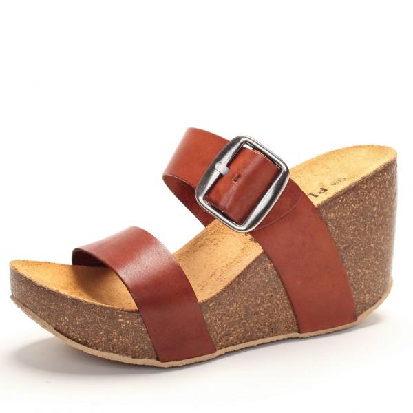 Sandalette braune Riemen Leder 433004