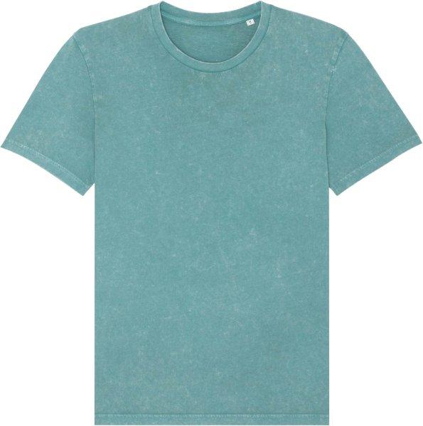 Vintage T-Shirt aus Bio-Baumwolle - g. dyed aged teal monstera