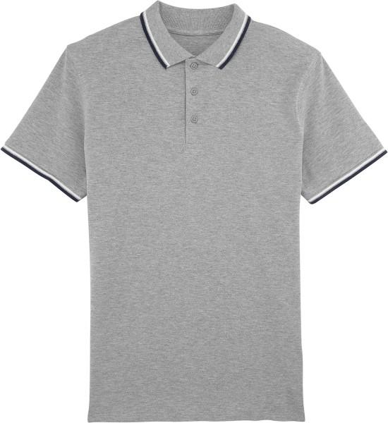 Competes Tipped - Poloshirt aus Bio-Baumwolle - grau meliert