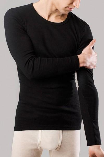 Langarm-Hemd - Wolle/Seide schwarz - Bild 1
