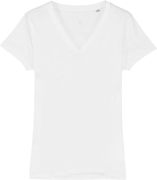 T-Shirt mit V-Ausschnitt aus Bio-Baumwolle - white