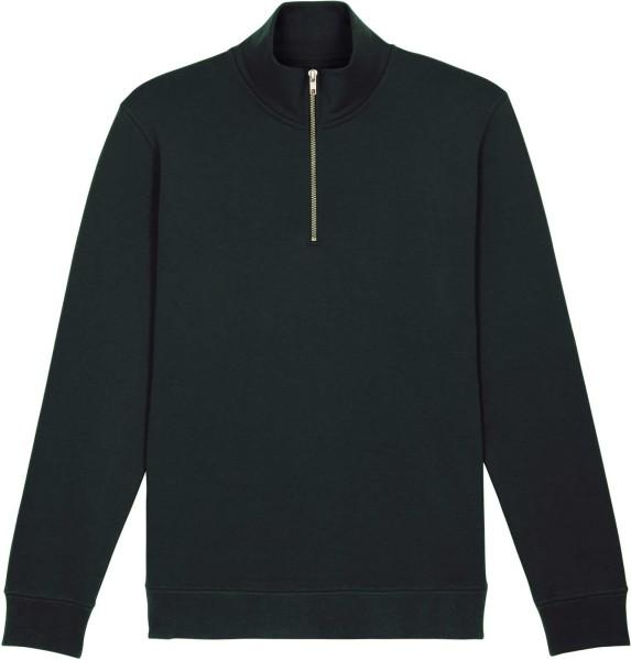 Sweatshirt mit Reissverschluss aus Bio-Baumwolle - black