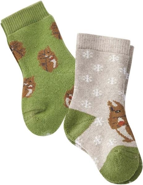 Baby Söckchen Eichhörnchen GOTS grün grau 2er-Pack