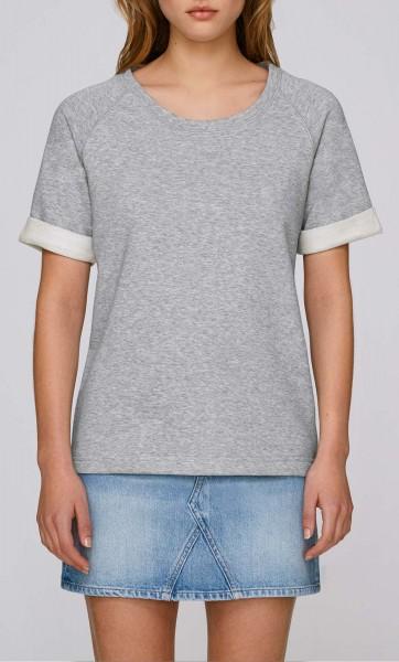 Slides - Kurzarm-Sweater aus Biobaumwolle - grau meliert - Bild 1