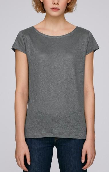 Glows Linen - Boatneck T-Shirt aus Leinen - linen grey