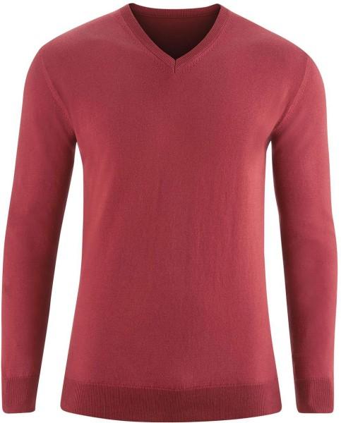 Strickpullover mit V-Ausschnitt aus Bio-Baumwolle - rosso