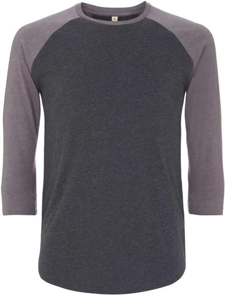 Recycled Unisex Baseball Shirt aus Baumwolle und Polyester - melange black / melange heather