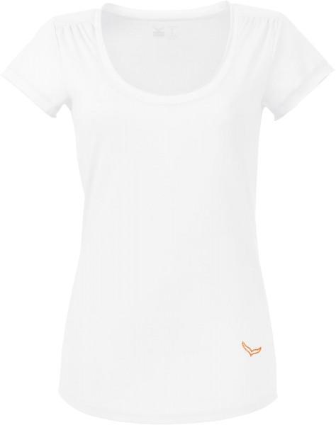 T-Shirt mit tiefem Ausschnitt aus Baumwolle - weiss