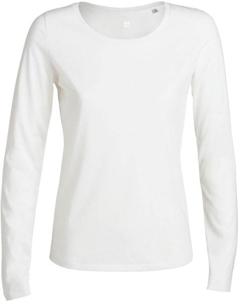Faires Damen-Shirt mit langen Ärmeln in weiss, Biobaumwolle