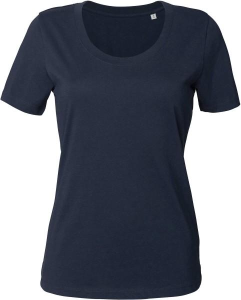Rundhals T-Shirt aus Bio-Baumwolle - navy