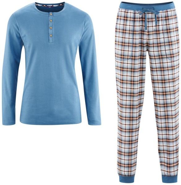 Pyjama Living Crafts blau krariert bio
